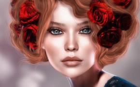 Picture girl, flowers, face, rendering, hair