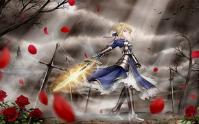 Wallpaper girl, the city, petals, the saber, Fate stay night, Fate / Stay Night