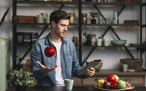 Picture look, house, room, Apple, kitchen, male, fruit, tablet