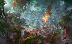 Picture dragon, fantasy, art, location, zhong wenhao, Elixir, resp