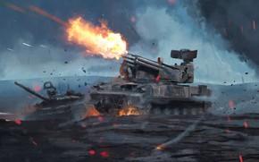 Picture Fire, Sparks, Weapons, Art, Tank, Shot, Technique, Sprc, Tunguska, T-72B3, by Anatoliy Petrov, Anatoliy Petrov, …