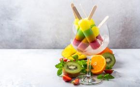 Picture ice, glass, ice cream, fruit, dessert, Iryna Melnyk