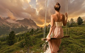 Wallpaper dress, swing, landscape, summer, mood, girl, back, treatment, nature, art, mountains