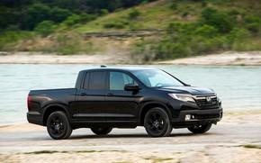 Picture black, Honda, pickup, on the shore, Black Edition, Ridgeline, 2019