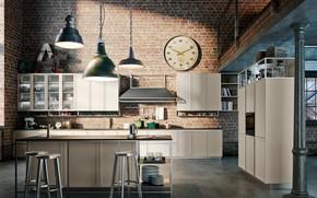 Picture interior, kitchen, loft style, industrial loft