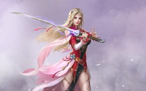 Picture Girl, Blonde, Style, Girl, Sword, Costume, Fantasy, Art, Art, Fiction, Figure, Minimalism, Sword, Armor, Dagger, …