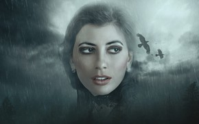 Picture the sky, look, girl, birds, clouds, face, rendering, rain, Gothic, portrait, makeup, brunette, crows, the …