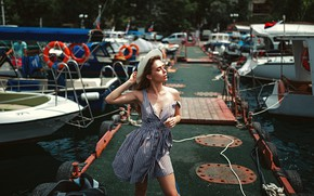Picture girl, pose, yachts, pier, hat, sundress, closed eyes, Gregory Levin, Polina Azarov