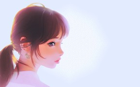 Wallpaper tail, profile, brown hair, blue background, duck, bangs, sweet girl, portrait of a girl, Ilya ...