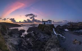 Picture sea, sunset, shore, Galicia, Lago, Valdoviño