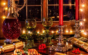 Picture berries, wine, candles, glasses, window, Christmas, cake, cakes, decanter