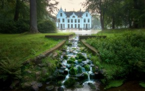 Picture Park, stream, castle, Netherlands, Netherlands, Staverden Castle, Ставерден, Замок Ставерден, Staverden
