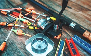 Picture table, fishing, rod, bokeh, floats, tackle, fishing line