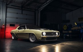 Picture Chevrolet, Gate, 1969, Camaro, Lights, Drives, Chevrolet Camaro, Muscle car, Classic car, Wide Body Kit, …