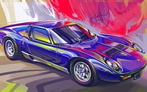 Picture Car, Retro, Supercar, Lamborghini Miura, Sketch, Alexander Sidelnikov