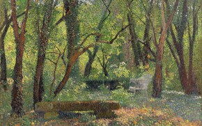 Picture Henri Matrin, picture, Landscape with a Stone Bench, Henri-Jean Guillaume Martin, nature