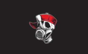 Picture Minimalism, Skull, Style, Background, Art, Art, Respirator, Style, Background, Cap, Minimalism, inksyndromeartwork, by inksyndromeartwork