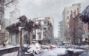 Picture snow, wolf, destruction, deer, On the ruins of civilization