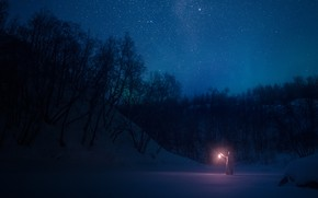 Picture winter, forest, girl, stars, snow, night, lantern, the night sky