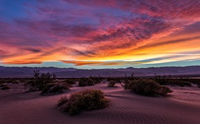 Picture the sky, clouds, sunset, mountains, nature, desert, USA, shrubs, Death Valley National Park