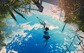 Picture the sky, water, reflection, schoolgirl