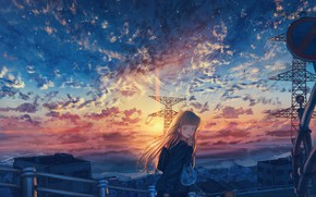 Picture sunset, the city, schoolgirl