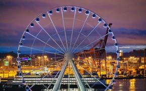 Picture lights, home, Ferris wheel, Washington, Seattle