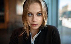 Picture girl, photo, photographer, blue eyes, model, bokeh, lips, face, blonde, portrait, hood, mouth, close up, …