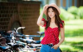 Picture girl, hat, Asian, bikes, bokeh
