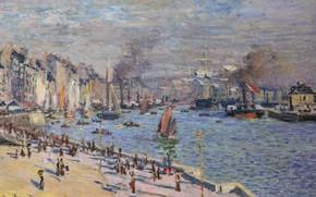 Picture landscape, the city, river, boat, Claude Monet