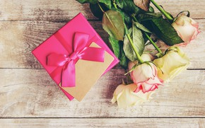 Picture love, gift, roses, bouquet, tape, love, pink, pink, flowers, romantic, valentine's day, roses, gift box