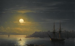Picture picture, the urban landscape, Ivan Aivazovsky, View Of Constantinople By Moonlight Night