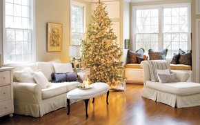 Picture decoration, comfort, tree, New Year, Christmas, gifts, living room
