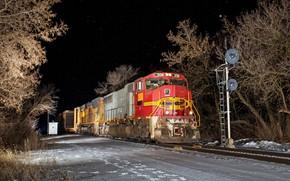 Picture winter, night, train