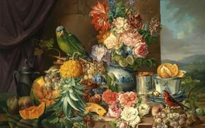 Picture birds, kettle, parrot, grapes, Cup, vase, pineapple, painting, melon
