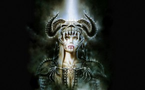 "Picture Girl, Skull, Blood, Horns, Luis Royo, Luis Royo, "" Fogs Kiss """
