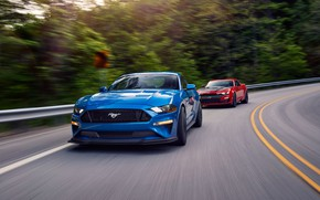 Picture speed, Ford, Chevrolet, Camaro SS, Mustang GT, 2019, Performance Pack