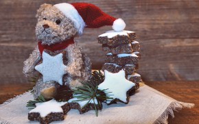 Picture winter, holiday, toy, bear, cookies, Christmas, bear, New year, bear, plush, Teddy, Christmas toys