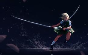 Picture water, girl, squirt, darkness, swords, katana, Touhou, Touhou, Touhou