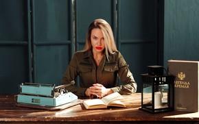 Picture look, girl, books, typewriter, Victor Krivoguz