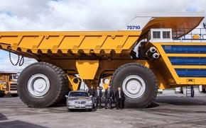 Picture auto, people, giant, Volga, Belarus, dump truck, BelAZ