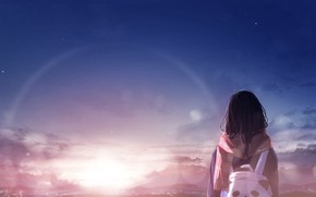 Picture sunset, girl, backpack
