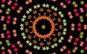 Picture pattern, round, black background, kaleidoscope, red stars
