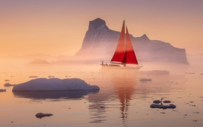 Picture sea, glacier, sails