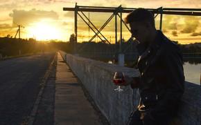 Picture road, sea, sunset, wine, black, plant, fishing, guy, river, the asvaltu, Bakal