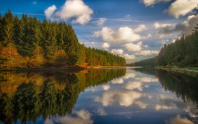 Picture the sky, clouds, landscape, nature, reflection, river, beauty
