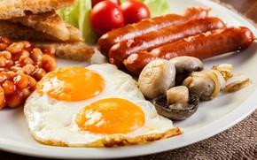 Picture mushrooms, sausage, eggs, scrambled eggs