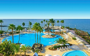 Picture sea, palm trees, pool, the hotel, Spain, Tenerife, The Canary Islands, Iberostar Selection Anthelia