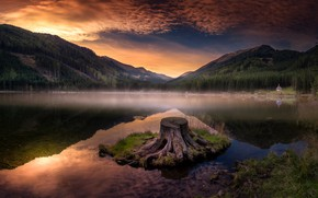Picture clouds, mountains, shore, stump, the evening, pond