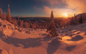 Picture winter, forest, the sky, the sun, snow, hills